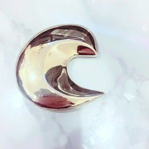 Gold Tone Crescent Pin Brooch Vintage